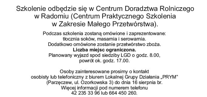 """Szkolenie wyjazdowe """"Małe przetwórstwo na wsi"""""""